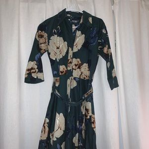 Peony Floral button up with belt dress